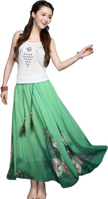 Jassu Fashion Hub Printed Women,s Regular Green Skirt