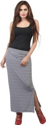 FamGlam Striped Women's Skegging White Skirt