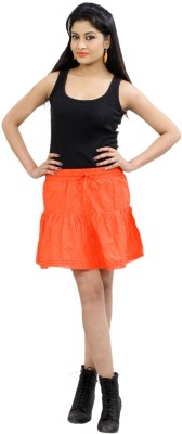 CrazeVilla Solid Women's A-line Orange Skirt