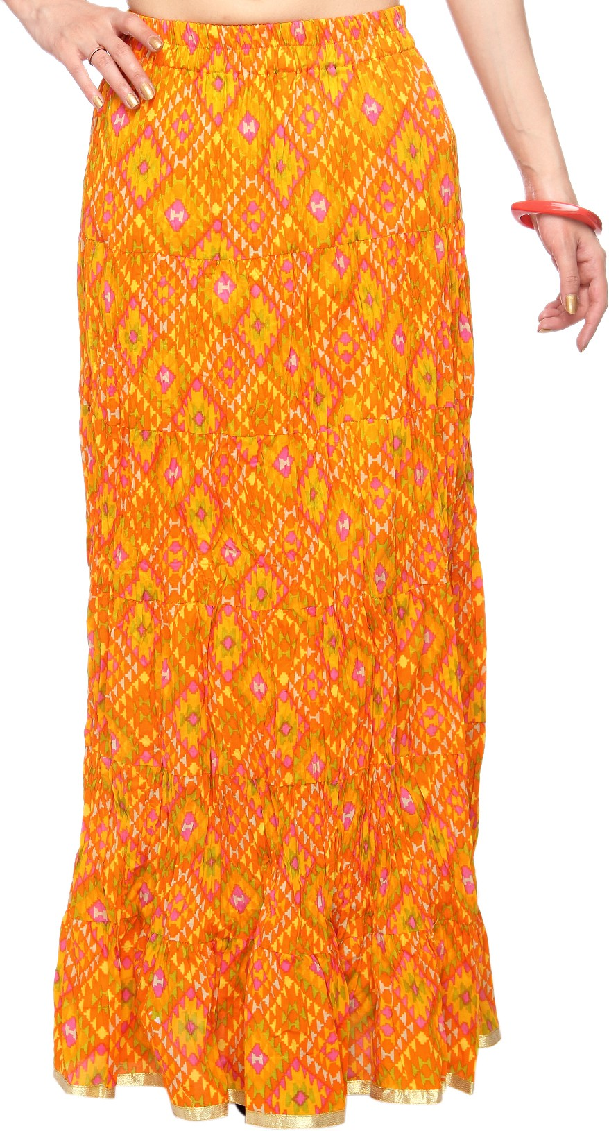 Mina Bazaar Printed Womens A-line Yellow, Orange Skirt