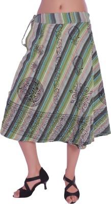 Jaipur Kala Kendra Printed Women's Wrap Around Green Skirt