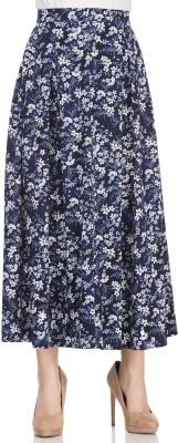 Femella Printed Women's Regular Blue Skirt