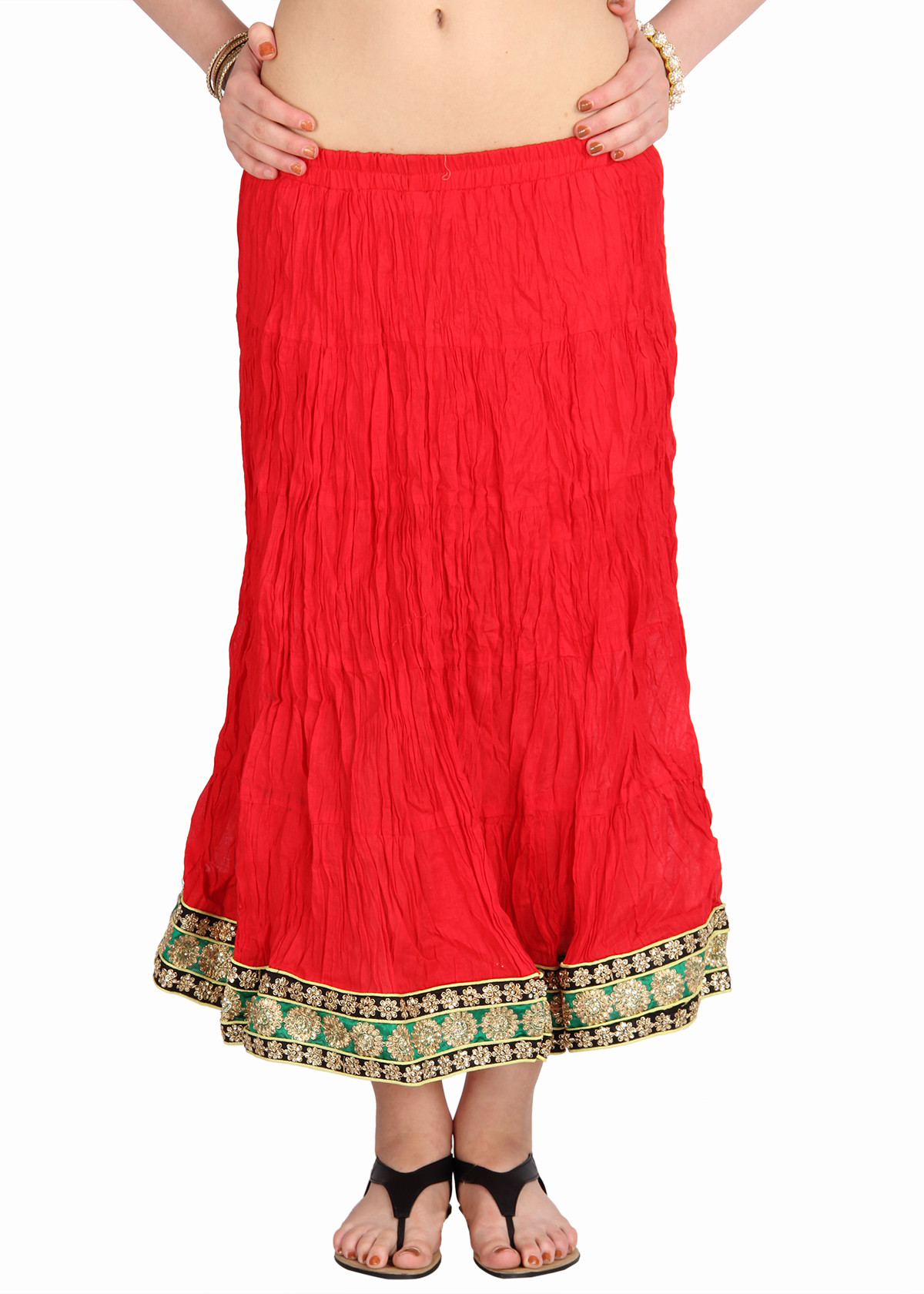 Mina Bazaar Self Design Womens A-line Red, Gold Skirt