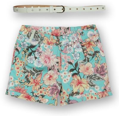 Lilliput Floral Print Girl's A-line Green Skirt