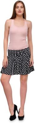 Sharleez Polka Print Women's A-line Black Skirt