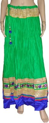 Pinkcityvilla Solid Women's Regular Green Skirt