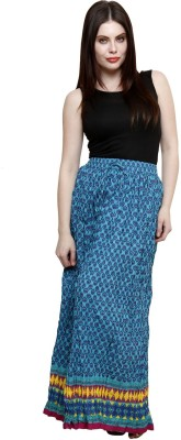 Pistaa Printed Women's Tiered Blue Skirt