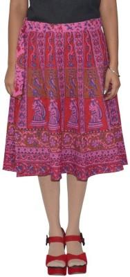 Shreeka Printed Women's Wrap Around Purple, Red Skirt