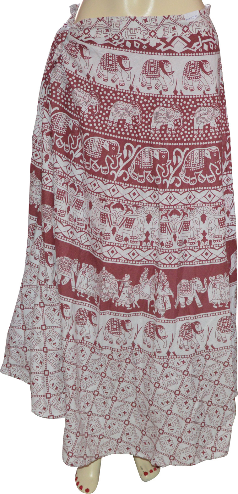 Marusthali Printed Womens Wrap Around Pink, White Skirt