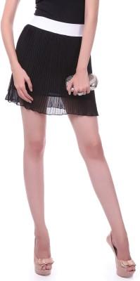 Sassafras Solid Women's Pleated Black Skirt