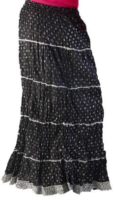 Jaipur Raga Floral Print Women's Regular Black Skirt