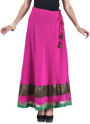 HOOR Solid Women's A-line Pink Skirt