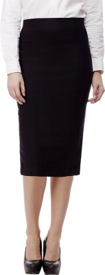 Purple Feather Solid Women's Pencil Black Skirt