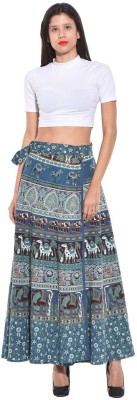 Saffron Craft Animal Print Women's Wrap Around Dark Blue Skirt