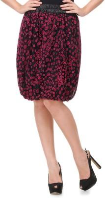 Milimoto Printed Women's Bubble Black, Pink Skirt