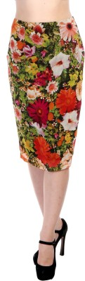 Hugo Chavez Floral Print Women's Pencil Multicolor Skirt at flipkart