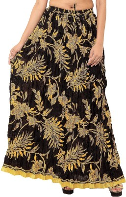 Wardtrobe Printed Women's Regular Yellow Skirt