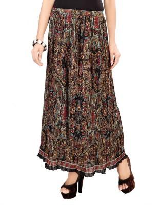 SFDS Printed Women's A-line Black Skirt