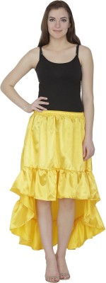 Famous by Payal Kapoor Solid Women's Gathered Yellow Skirt