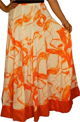 KheyaliBoutique Graphic Print Women,s Gathered Orange, White Skirt