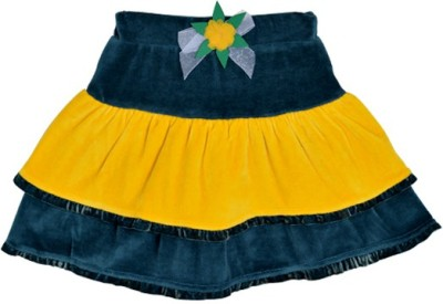 Lil Orchids Solid Girls Tiered Dark Green Skirt