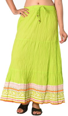 SBS Solid Women's Tiered Light Green Skirt
