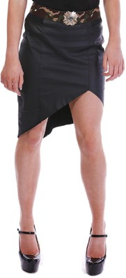 Paint It Red Solid Women's Regular Black Skirt