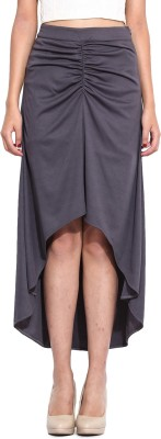 Pera Doce Solid Women's Asymetric Grey Skirt