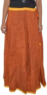 Shreeka Printed Women's Straight Maroon, Yellow Skirt