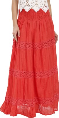 Svt Ada Collections Printed Women,s Regular Red Skirt