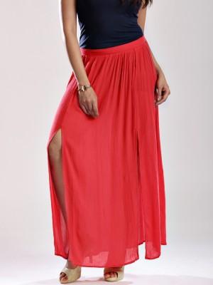 Anouk Solid Women's Straight Red Skirt
