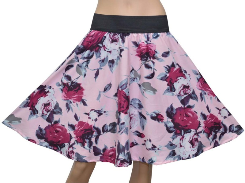 Grace Diva Floral Print Women's Gathered Pink, Black Skirt