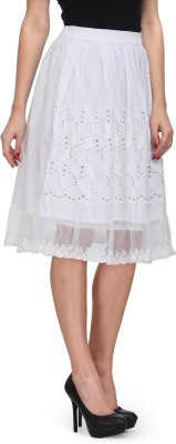 India Inc Self Design Women's Straight White Skirt