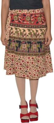 Shreeka Printed Women's Wrap Around Brown, Black Skirt