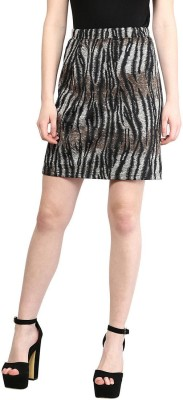The Vanca Animal Print Women's A-line Brown Skirt