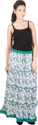 Franclo Floral Print Women,s Gathered Green Skirt