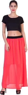 Curvyy Solid Girl's A-line Pink Skirt