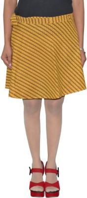 Shreeka Printed Women's Wrap Around Yellow, Maroon Skirt