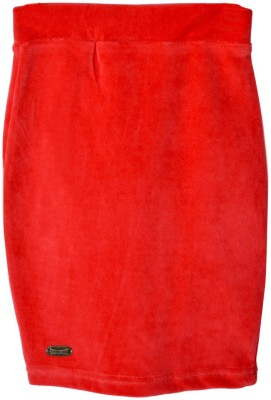 Lil Orchids Solid Baby Girl's Pencil Red Skirt