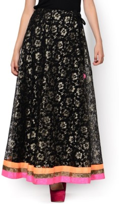 Hoor Self Design Women's A-line Black Skirt