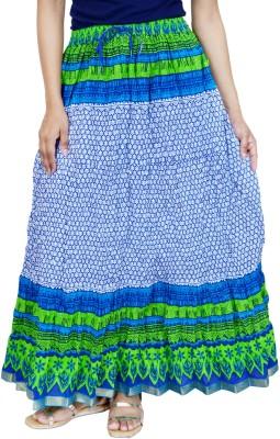 Rangreja Floral Print Women's A-line Blue Skirt