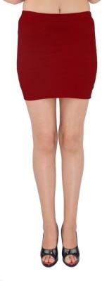 SHYIE Solid Women,s Pencil Maroon Skirt