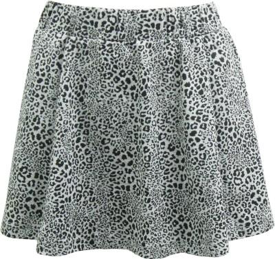 Abstract Mood Animal Print Girl's Regular Grey Skirt