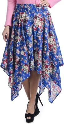 Bohemian You Floral Print Women's Asymetric Blue Skirt