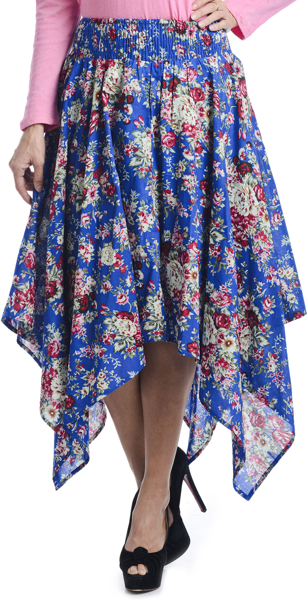 Bohemian You Floral Print Womens Asymetric Blue Skirt