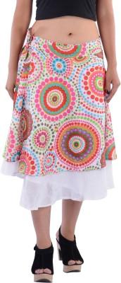 Indi Bargain Geometric Print Women's A-line White Skirt