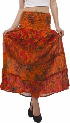 Indi Bargain Floral Print Women's A-line Orange Skirt
