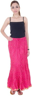 Ooltah Chashma Striped Women's Broomstick Pink Skirt