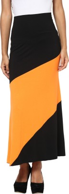 T-shirt Company Solid Women's Straight Black, Orange Skirt
