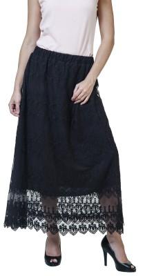 Rute Self Design Women's A-line Black Skirt